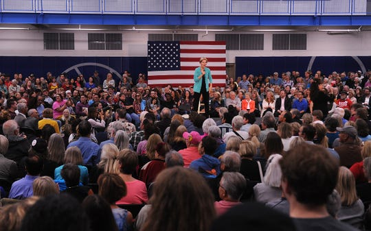 Senator Elizabeth Warren speaks during a campaign rally at the MAC Multi-Purpose Athletic Center Facility in Carson City on Oct. 2, 2019.