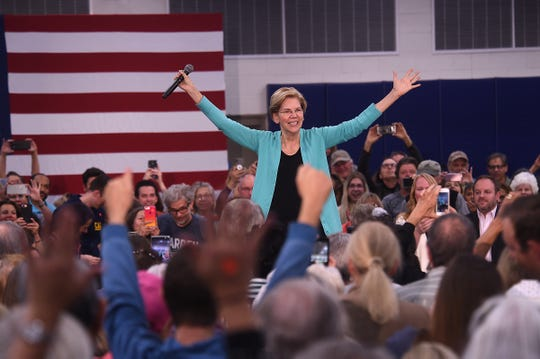 Senator Elizabeth Warren greets her supporters while holding a campaign rally at the MAC Multi-Purpose Athletic Center Facility in Carson City on Oct. 2, 2019.