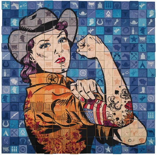 """Rise Up 1"" by Stephen L. Wilson uses fabric and thread to portray an updated Rosie the Riveter."