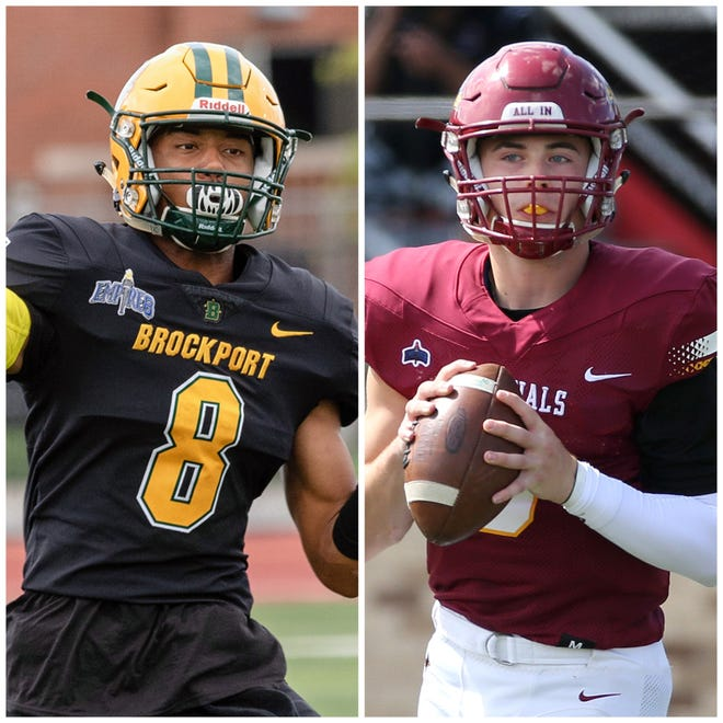 Former Section V football standouts Freddy June (left) and Hunter Walsh (right) will start at QB for The College at Brockport and St. John Fisher College, respectively, in Courage Bowl XV.