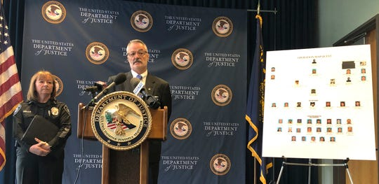 U.S. Attorney Billy Williams, at podium, announces charges in a major drug bust, one of the largest drug trafficking busts in state history, in Portland, Ore., Wednesday, Oct. 2, 2019.
