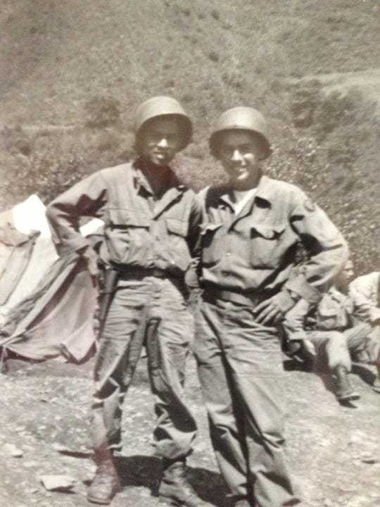 Salinas resident Jose D. Serrano (left) served in the U.S. Army during WWII during which he was taken prisoner and forced to participate in the Bataan Death March.