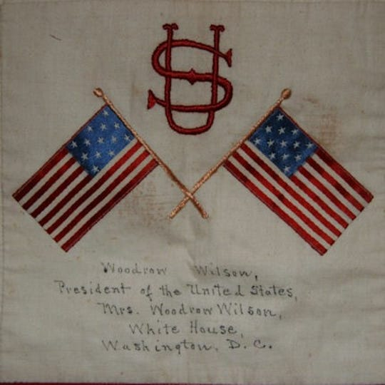 One block of a quilt made during World War I by a chapter of the American Red Cross in Accomack County, Virginia lists President Woodrow Wilson as a donor.