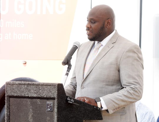 SporTran CEO Dinero Washington speaks during the announcement Thursday afternoon.