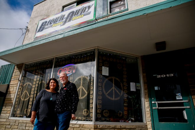Owners James and Sandra Luther are seen at their store, Blown Away, on Thursday, Oct. 3, 2019. The owners have noticed a decline in sales with recent reports of vaping related illnesses.