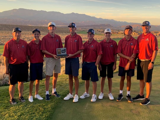 The Crimson Cliffs golf team, here winning the Region 9 championship, won its first-ever state golf tournament Thursday.