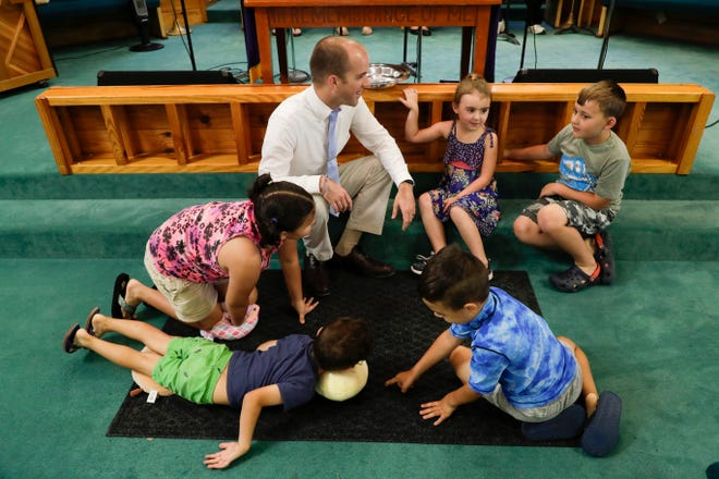 Pastor Jack Ladd chats with the young members of the Wakulla United Methodist Church's congregation at the 10 a.m. service Sunday, Sept. 29, 2019.