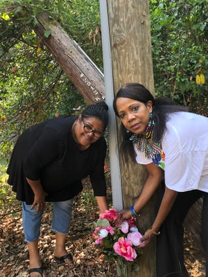Kim Gibbs and Rosalind Tompkins at Memorial for Leroy Abner Gibbs.