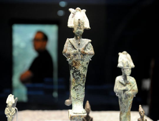 "A statuette of Osiris is part of the collection of ""Egypt's Lost Cities"" at the Ronald Reagan Presidential Library & Museum."