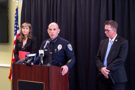 Visalia Police Chief Jason Salazar, District Attorney Tim Ward and Nicola Duda with the Department of Justice announce on Thursday, October 3, 2019 the arrest of Nickey Duane Stane stemming from a John Doe warrant in connection with seven sexual assault crimes ranging from July of 1999 to Aug of 2002.