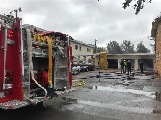 Fire crews battled a garage fire at Lakeview Apartments in Schofield Thursday morning.