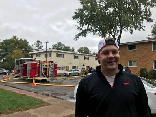 Logan Nelson called 911 after he noticed smoke coming out of a garage at Lakeview Apartments.