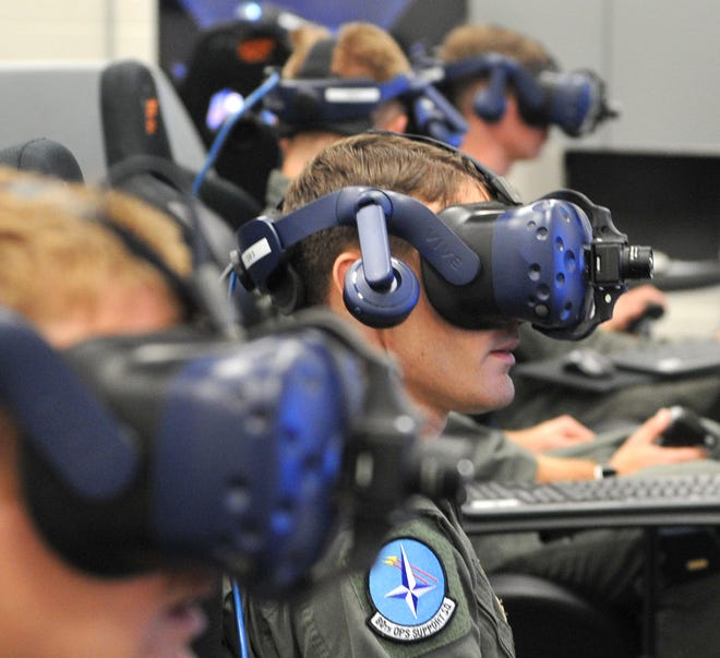 Sheppard Air Force Base student pilots got a virtual taste of the future Thursday afternoon while wearing augmented reality helmets and flying over north Texas without a plane.