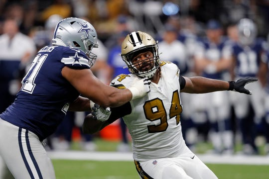 New Orleans Saints defensive end Cameron Jordan (94) pass rushes against Dallas Cowboys offensive tackle La'el Collins (71) in the second half of an NFL football game in New Orleans, Sunday, Sept. 29, 2019. (AP Photo/Bill Feig)
