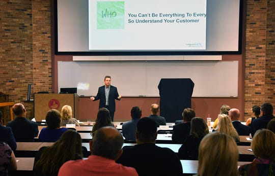 Michael Browning, CEO of Urban Air Adventure Parks, was the keynote speaker at the i.d.e.a. WF business competition event Wednesday evening at Midwestern State University.
