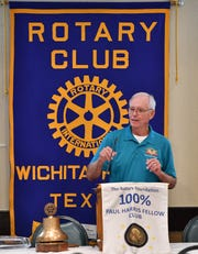 Roby Christie speaks after being named Outstanding Citizen of the Year by the Rotary Club of Wichita Falls Thursday at Luby's.