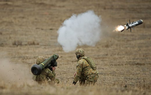 """During the July 25, 2019 call with President Trump, Ukrainian President Zelensky said """"We are ready to continue to cooperate for the next steps specifically we are almost ready to buy more Javelins from the United States for defense purposes."""" According to the whistleblower complaint, """"on July 18, an Office of Management and Budget (OMB) official informed Departments and Agencies that the President """"earlier that month"""" had issued instructions to suspend all U.S. security assistance to Ukraine."""" Seen here, Australian Army soldiers fire a Javelin anti-tank missile during Exercise Chong Ju at the Puckapunyal Military Area on May 9, 2019 in Seymour, Australia."""