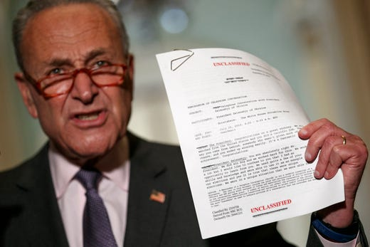 Senate Minority Leader Sen. Chuck Schumer of N.Y. holds up a copy of a White House released rough transcript of a phone call between President Donald Trump and the President of Ukraine as Schumer speaks to the media about an impeachment inquiry on President Trump, Sept. 25, 2019, on Capitol Hill in Washington.