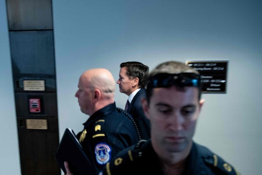 Intelligence Community Inspector General Michael Atkinson arrives for a closed meeting of the Senate Select Committee on Intelligence regarding a whistleblower on Sept. 26, 2019, in Washington, DC. Atkinson found that the complaint appeared credible Aug. 26, after a preliminary review.