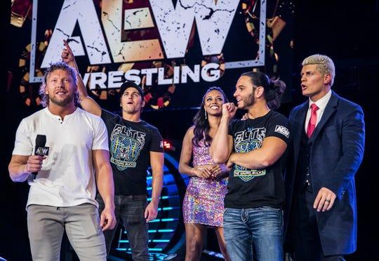 Kenny Omega (far left), Nick Jackson, Brandi Rhodes, Matt Jackson and Cody Rhodes are the faces of the upstart league All Elite Wrestling.