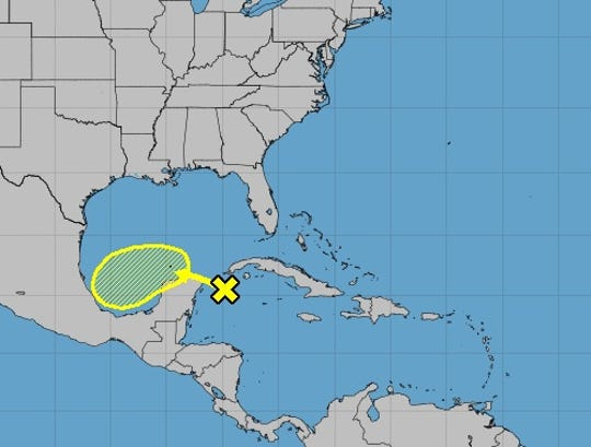 Forecasters are monitoring a tropical wave (yellow x) in the Caribbean that has a 20% chance of development within the next five days.