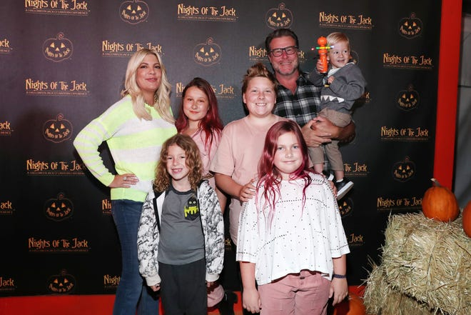 Tori Spelling got mom-shamed for letting her kids dye their hair for a costume party.