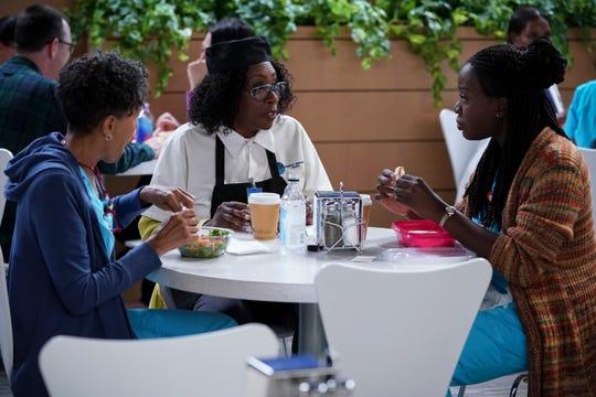 "Vernee Watson as Gloria, Gina Yashere as Kemi  and Folake Olowofoyeku as Abishola in ""Bob Hearts Abishola."""
