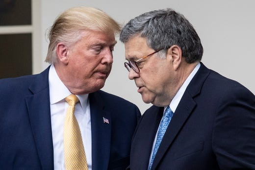 In the July 25 telephone call conversation with Ukraine President Zelensky, Trump refers to Attorney General William Barr and his personal lawyer Rudy Giuliani several times. Seen here, President Trump hands over the podium to Attorney General William Barr while participating in an announcement on US citizenship and the census in Washington, DC, on July 11, 2019.