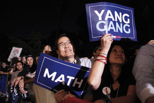 Supporters of Democratic presidential candidate, entrepreneur Andrew Yang listen to Yang speak at a campaign rally on September 30, 2019 in Los Angeles, California. Yang is the son of Taiwanese immigrants and was born in upstate New York.