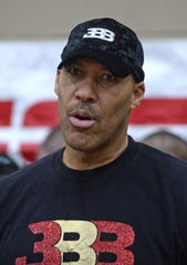 LaVar Ball attends the second half of the game between Bishop Gorman and Denton Guyer at Chaparral High School.