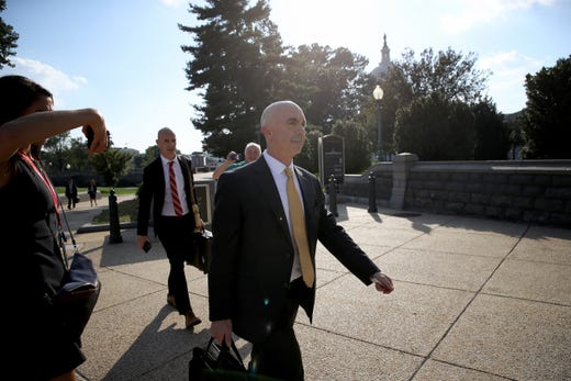 U.S. State Department Inspector General Steve Linick departs the U.S. Capitol Oct. 2, 2019 in Washington, DC. Linick reportedly met with congressional officials to brief them on information related to the impeachment inquiry centered around U.S. President Donald Trump.