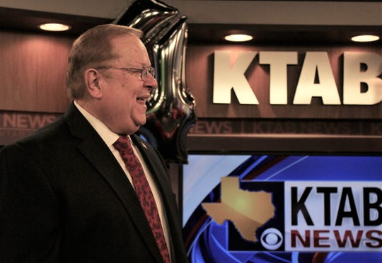 KTAB news anchor Bob Bartlett laughs after speaking Friday morning at his station's 40th anniversary party. The CBS affiliate went on the air Oct. 6, 1979, and Bartlett was part of the launch crew.