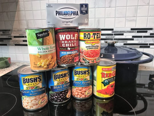 Ingredients for Seven-Can Soup, with an optional brick of cream cheese