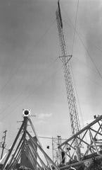 The KTAB tower begins is ascent into the southwest Abilene sky in September 1979.