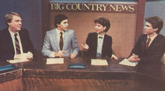 Gary Stricklin (from left), Art Rascon, Janlyn Echols and Pablo Pereira on the set of KRBC in 1985, six years after some at the city's NBC affiliate had departed to launch KTAB, a CBS station. Today, both affiliates share the original KRBC site on South 14th Street.