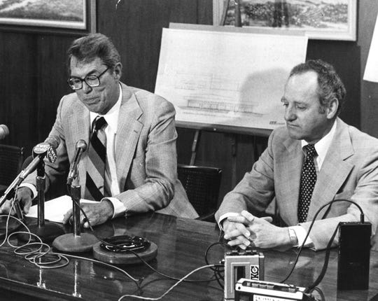 Bill Terry, left, and Abe Allen announce March 28, 1979, that a new TV station is coming to Abilene. KTAB-TV, channel 32, would go on the air Oct. 6, not in September as hoped, and broadcast CBS and local programming.