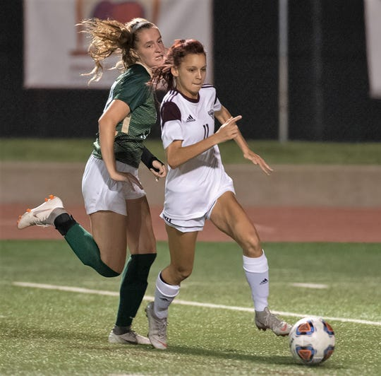 McMurry's Alyssa Daily, right, leads the team in goals scored this season.