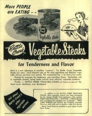 A 1959 advertisement for Battle Creek Vegetable Steaks from the Lake Union Herald.