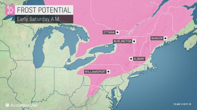 Frost potential in the Northeast United States on Saturday, Oct. 5, 2019.