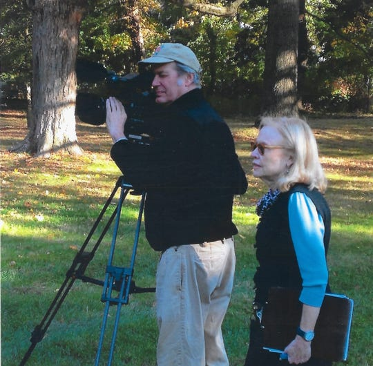 Flimmaker Janet Gardner, left, with director of photography Kevin Cloutier   on a film shoot in South Jersey for a  documentary on Quakers to air on WHYY-TV  Channel 12, Sunday night  Oct. 6, 2019