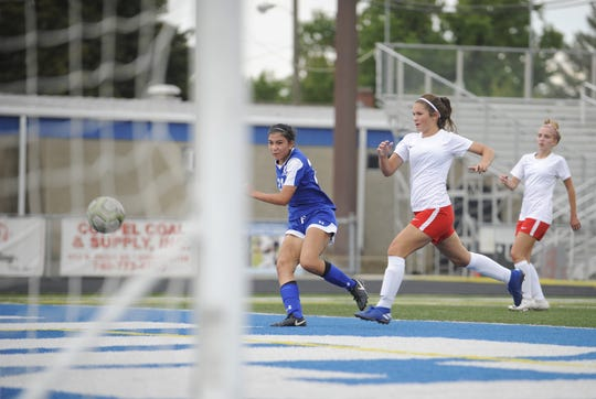 Chillicothe's Jenna Lapurga shoots a goal during an 8-1 win over Jackson on Thursday, Oct. 3, 2019 at the Obadiah Harris Family Athletic Complex in Chillicothe, Ohio.
