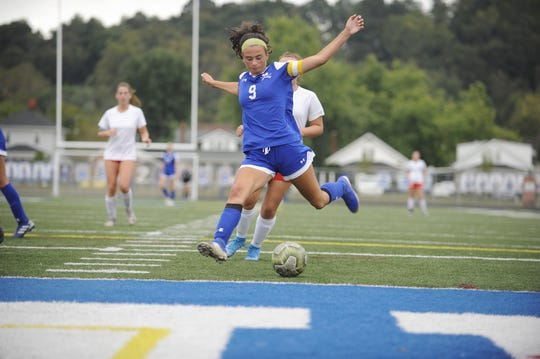 Chillicothe's Addie Erslan kicks a ball during an 8-1 win over Jackson on Thursday, Oct. 3, 2019 at the Obadiah Harris Family Athletic Complex in Chillicothe, Ohio.