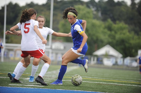 Chillicothe's Addie Erslan dribbles the ball during an 8-1 win over Jackson on Thursday, Oct. 3, 2019 at the Obadiah Harris Family Athletic Complex in Chillicothe, Ohio.