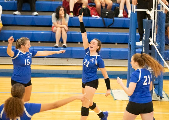 Chillicothe's Sophie Fulkerson celebrates during a 3-1 win over Jackson on Thursday, Oct. 3, 2019. Fulkerson earned first team all-district honors in Division II on Monday.