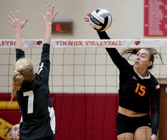 Fenwick opposite hitter Julia Gardon returns a volley to Kettering Alter during their volleyball game at Fenwick in Middletown Thursday, Oct. 3, 2019. Fenwick won, 3-0.