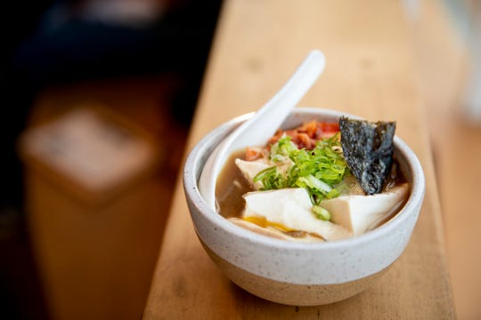 Kiki College Hill serves two types of ramen: shio and kimchi ramen. This kimchi ramen is made of housemade kimchi, tofu, negi and tea marinated egg.