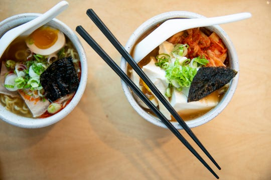 Kiki College Hill serves two types of ramen: shio and kimchi ramen. Shio ramen is made of chicken brother, pork belly negi, tea marinated egg and rays. Kimchi ramen is made of housemade kimchi, tofu, negi and tea marinated egg.