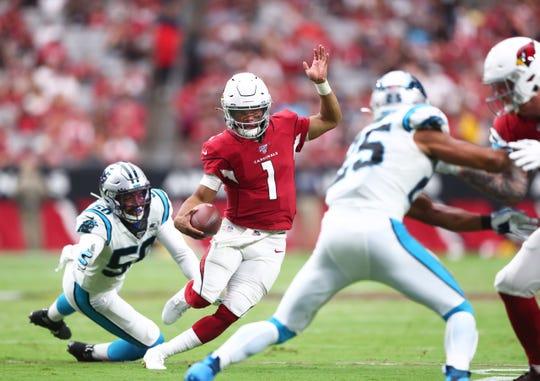 Sept. 22, 2019: Arizona Cardinals quarterback Kyler Murray (1) runs the ball against the Carolina Panthers in the second half at State Farm Stadium.