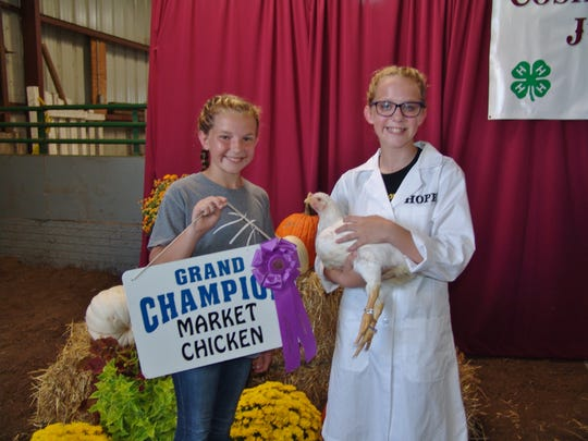 Kortnee Mickle poses with her sister Hope Mickle and her Grand Champion market chicken during the Sale of Champions Thursday in Hunter Arena. Mickle, 12, is a student at River View Junior High School . She plans to save the money from the sale of her chicken, purchased by Coshocton Trucking, for college.