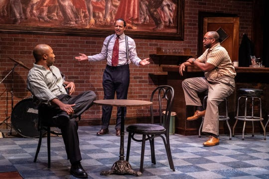 """Blue (Brian Marable), center,  with Henri Franklin, left, and Will Bryson in """"Paradise Blue,"""" a play by Detroit native Dominique Morisseau being staged at Detroit Public Theatre."""